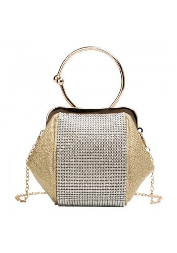 Večerní dámská kabelka zlaté barvy s krystaly