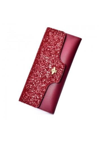 Dámská módní peněženka s brokátem v červené barvě