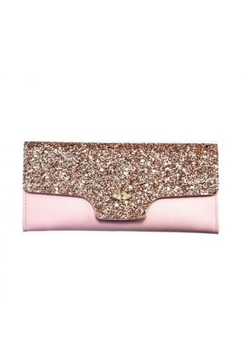 Módní dámská peněženka růžové barvy s brokátem