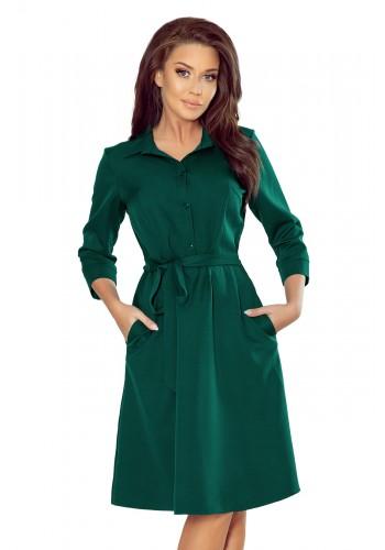 Košilové dámské šaty zelené barvy s vázáním v pase