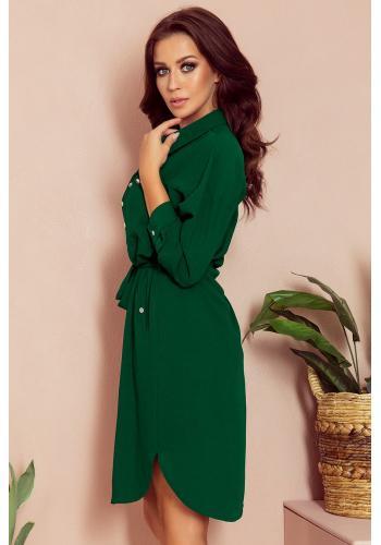 Dámské košilové šaty s vázáním v pase v zelené barvě