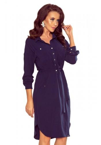 Tmavě modré košilové šaty s vázáním v pase pro dámy