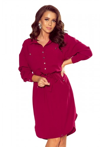 Košilové dámské šaty bordové barvy s vázáním v pase