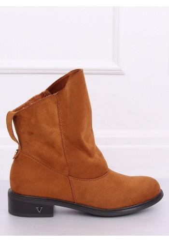 Dámské semišové boty s nařaseným svrškem v hnědé barvě