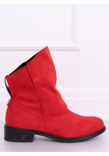 Červené semišové boty s nařaseným svrškem pro dámy