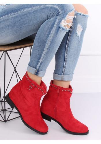 Dámské semišové boty na skrytém podpatku v červené barvě