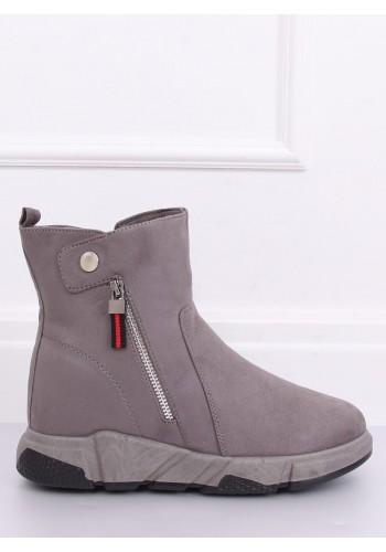 Dámské semišové boty na vysoké podrážce v šedé barvě