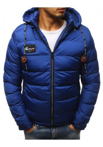 Pánská prošívaná bunda na zimu v světle modré barvě