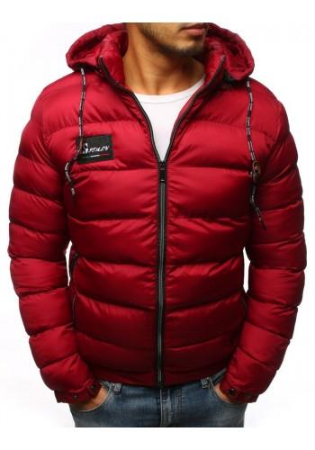 Bordová prošívaná bunda na zimu pro pány