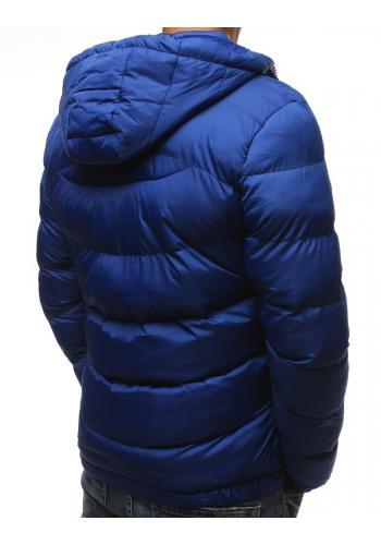 Světle modrá prošívaná bunda na zimu pro pány