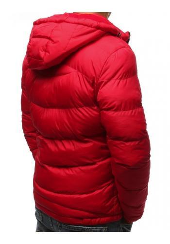 Prošívaná pánská bunda červené barvy na zimu