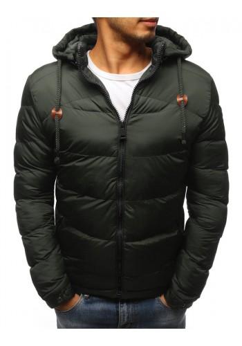 Zelená prošívaná bunda na zimu pro pány