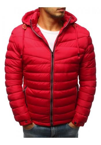 Pánské prošívané bundy na zimu v červené barvě