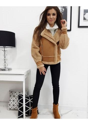 Dámská zimní bunda s asymetrickým zipem v hnědé barvě