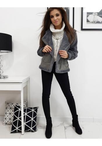 Zimní dámská bunda tmavě šedé barvy s asymetrickým zipem