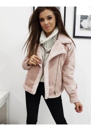 Dámská zimní bunda s asymetrickým zipem v růžové barvě