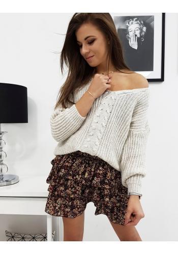 Dámský módní svetr s výstřihem ve tvaru V v světle béžové barvě