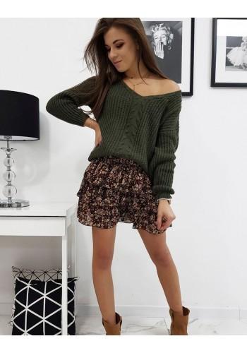 Zelený módní svetr s výstřihem ve tvaru V pro dámy