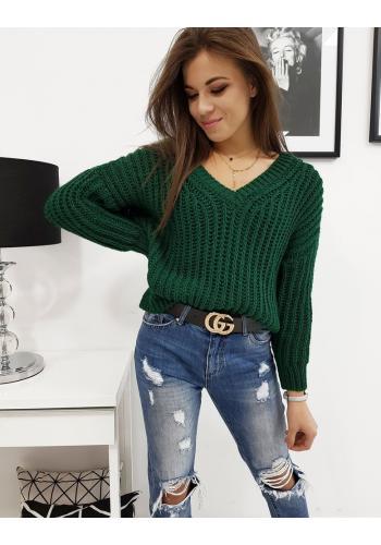 Dámský klasický svetr s výstřihem ve tvaru V v zelené barvě