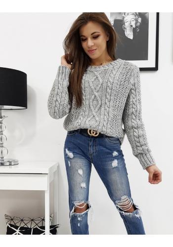 Dámský stylový svetr s kulatým výstřihem ve světle šedé barvě