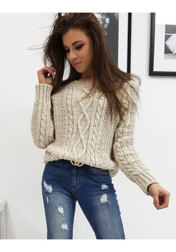 Světlo béžový stylový svetr s kulatým výstřihem pro dámy