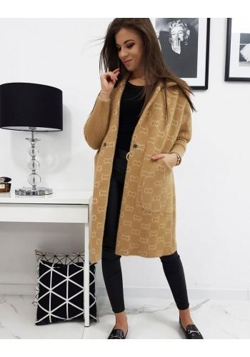 Dámský módní kabát se vzorem v béžové barvě