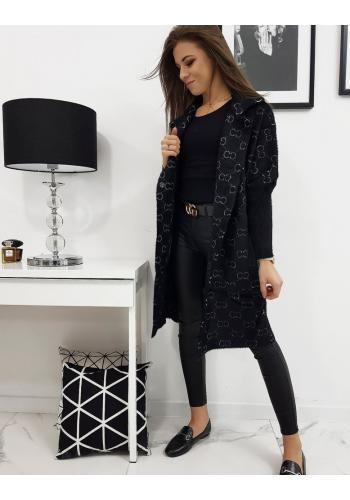 Módní dámský kabát černé barvy se vzorem