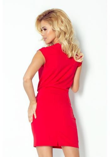 Dámské šaty s přeloženým výstřihem - červené