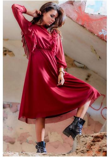 Dámské tylové šaty s volány v bordové barvě