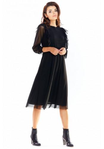 Černé tylové šaty s volány pro dámy