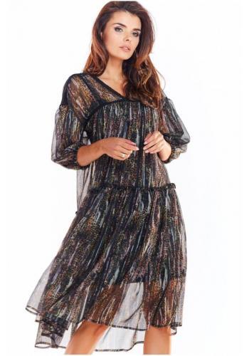 Dámské vzorované šaty s krajkovými vložkami