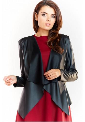 Elegantní dámské sako černé barvy z ekokůže