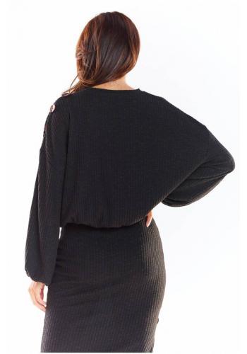 Černý oversize svetr s kimono rukávy pro dámy