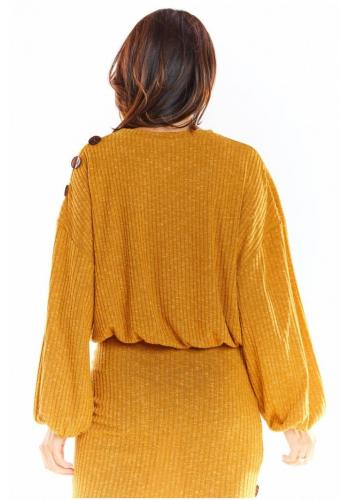 Oversize dámský svetr velbloudí barvy s kimono rukávy