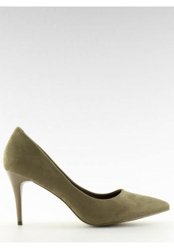 Žluté semišové lodičky na nevysokém podpatku pro dámy