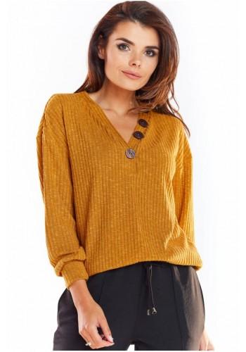Dámský pohodlný svetr s ozdobnými knoflíky ve velbloudí barvě