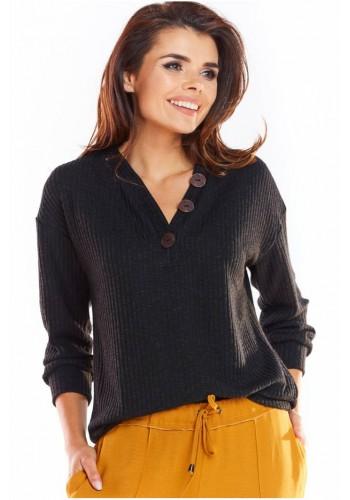 Pohodlný dámský svetr černé barvy s ozdobnými knoflíky