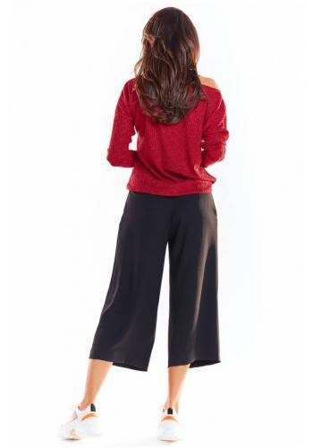 Bordový klasický svetr s dlouhým rukávem pro dámy