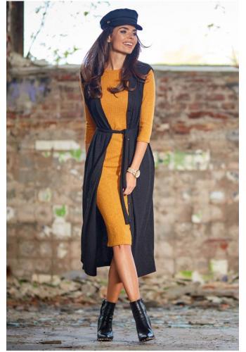 Dlouhá dámská vesta černé barvy se zapínáním