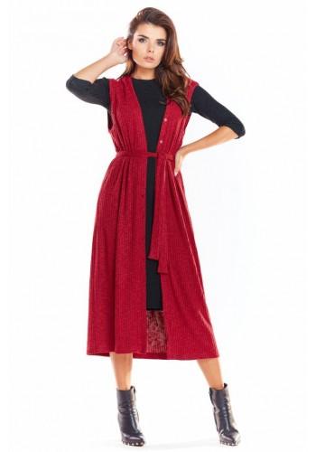 Dámská dlouhá vesta se zapínáním v bordové barvě
