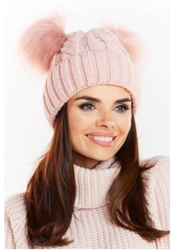 Dámská teplá čepice s dvěma pomponami v růžové barvě
