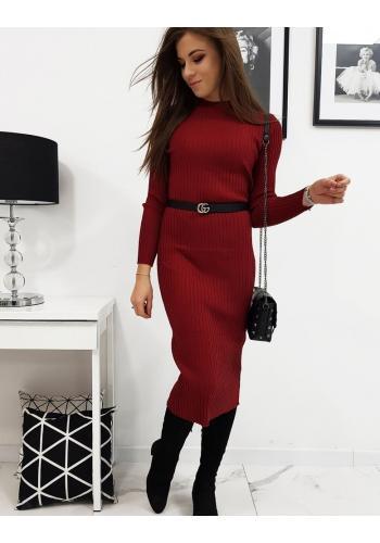 Bordové svetrové šaty s dlouhým rukávem pro dámy