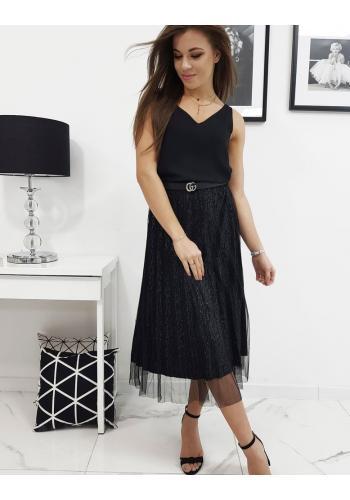 Dámská plisovaná sukně s dvěma vrstvami v černé barvě