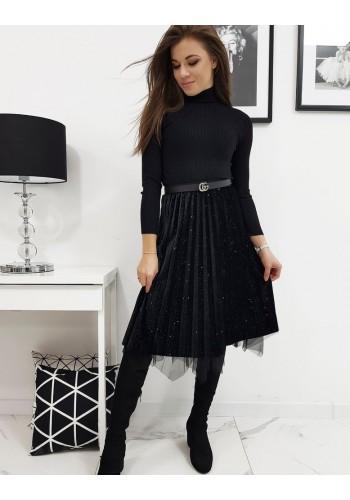 Oboustranná dámská sukně černé barvy s třpytkami