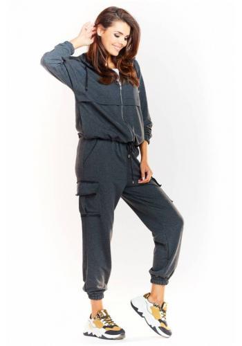 Tmavě šedé volné kalhoty s elastickým pasem pro dámy