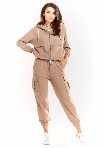 Volné dámské kalhoty béžové barvy s elastickým pasem