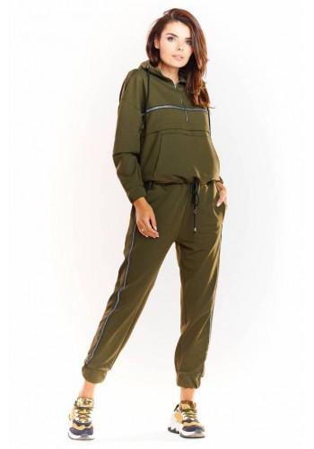 Kaki sportovní kalhoty s elastickým pasem pro dámy