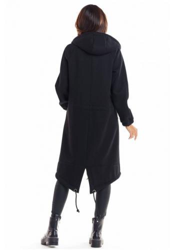 Dámská teplá dlouhá mikina s kapucí v černé barvě