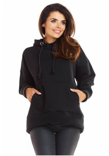 Volná dámská mikina černé barvy s kapucí