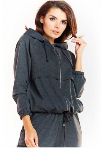 Tmavě šedá pohodlná mikina s kapucí pro dámy